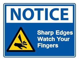 Notice Sharp Edges Watch Your Fingers Symbol vector