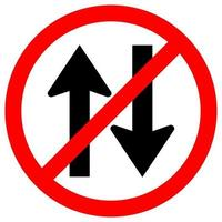 Forbid Two Way Traffic Road Sign Isolate On White Background,Vector Illustration EPS.10 vector