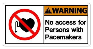 Advertencia de no acceso para personas con signo de símbolo de marcapasos sobre fondo blanco. vector