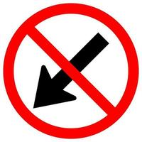 Prohibit Keep Left by The Arrow Red Circle Traffic Road Symbol Sign Isolate On White Background,Vector Illustration EPS.10 vector