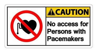 No hay acceso para personas con marcapasos signo símbolo sobre fondo blanco. vector