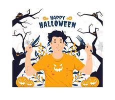 Man with blood splash holding fork and knife on halloween concept illustration vector