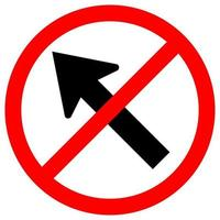 Prohibit Go To The Left By The Arrow Traffic Road Sign Isolate On White Background,Vector Illustration EPS.10 vector