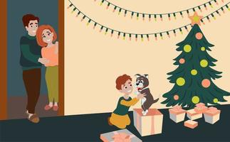 Family gives a son a dog for Christmas. Happy child unpacks gifts under the Christmas tree. vector