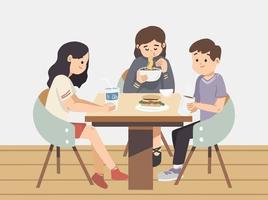 Friends sitting around table at cafe. Enjoying and eating meals. Sharing drinks at cafe. Indoor cafe color flat vector design. Friends having Chinese food in American Restaurant.