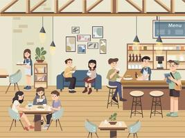 Interior cafe scene with friends and people having coffee. People having leisure time at restaurant. Deli Bistro Fine Dining Coffee House with Waiters and Bartender. Customers ordering food. vector