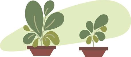 Green potted plants. Indoor green abstract plants and leaves free vector