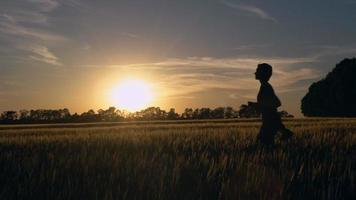 lady runs at countryside. video