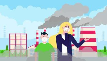 Confused woman and kid in masks against smog. Fine dust, air pollution, industrial smog protection concept flat style design vector illustration. Industrial factory pipes with huge clouds of smoke.