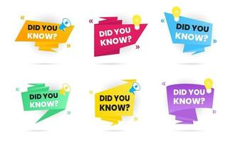 6 Big banner ribbons speech bubble with text did you know set vector