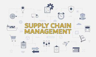 scm supply chain management concept with icon set vector