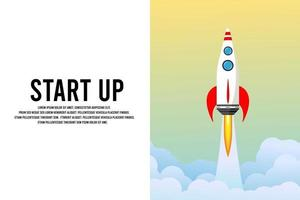 Creative nature background. Cartoon smoke. Beautiful spring. Vector color illustration. Business success. Space shuttle. Cloud clear. Rocket launch in the sky, space. Business concept.