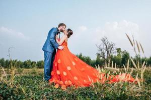 Bride and groom have romance time and happy together photo