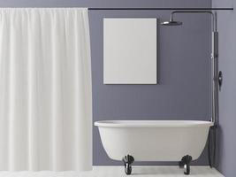 Bathroom with bathtub with picture frame mounted on the wall photo