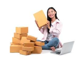 woman working sell online photo