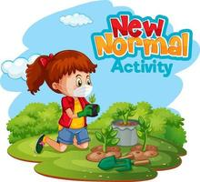 New normal activity with a girl wearing masking in the garden vector