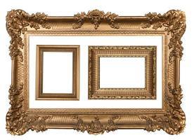 3 marcos decorativos de pared vacía de oro. foto