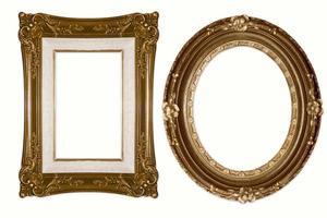 marcos dorados decorativos ovalados y rectangulares foto