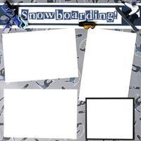 plantilla de marco de libro de recuerdos de tema de snowboard foto
