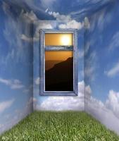 habitación de fantasía en la nube y el cielo con vista al amanecer foto