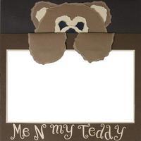 plantilla de marco de álbum de recortes de oso de peluche foto