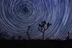 Estelas de estrellas y Vía Láctea en el Parque Nacional Joshua Tree. foto