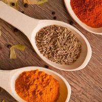 closeup spices on spoon photo
