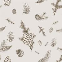 Pine cones and Needles Pencil Sketch Style Seamless Pattern Sepia photo