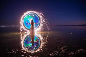 Light Painted Girl in the Salton Sea photo