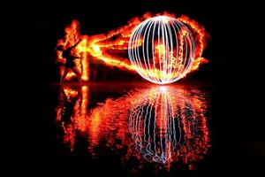 Night Time Light Painted Imagery With Color and Fire photo