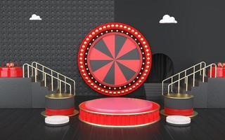 3d rendering of abstract geometric shape with arrow target for product display photo