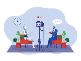 El empresario prueba una tecnología de inteligencia artificial robot con control remoto y graba un ilustrador de video.vector. vector