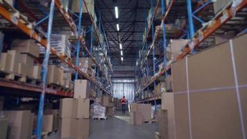Manager goes in storehouse. video