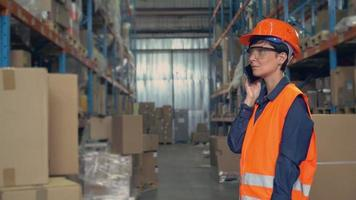 Female check goods for delivery. video