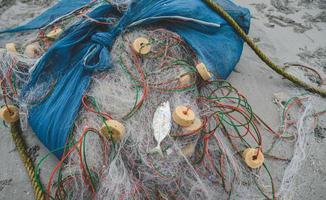 Fishing net on the beach. photo