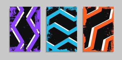 Set Of Creative Grunge Banner Template With Colorful Messy Zig Zag Line Design vector