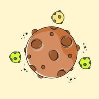 Ilustración planeta marrón con diseño de tres mini planetas vector