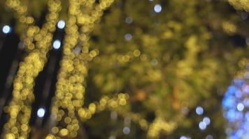 Blurred Christmas Lights gold Bokeh. video