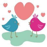 Cute birds in love, two birds opposite each other and hearts around, for a card or design for Valentine's day vector