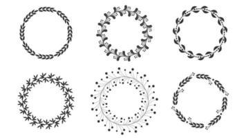Floral wreaths, round frames set, line art boho style vector