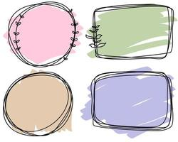 Abstract doodle black frames pastel set hand drawn. Cute round lines with leaves, circles, square, plant collection. vector