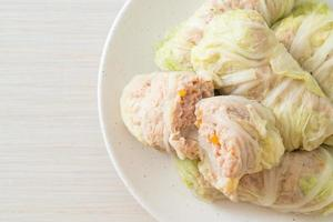 Minced Pork Wrapped in Chinese Cabbage or Steamed Cabbage Stuff Mince Pork photo