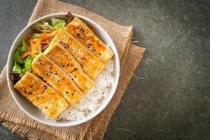 teriyaki tofu rice bowl - vegan food style photo