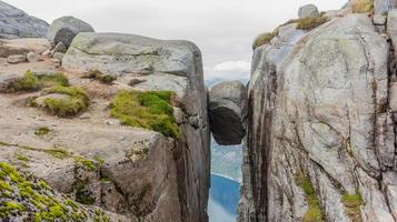 Kjerag Kjeragbolten above the Lysefjord. Norway's most beautiful landscape photo