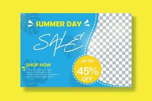 Summer sale banner template, blue and yellow color combination, blurry photo as in the picture. files can be edited for personal or commercial use, please follow the portfolio thanks already follow me vector