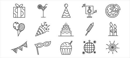 Outline Party Icon Collection vector