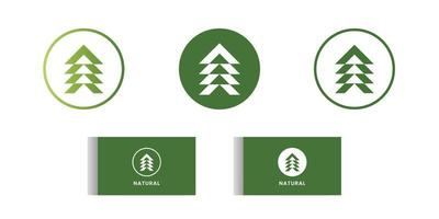 Set of nature logo design. Green flat nature icon. Free vector
