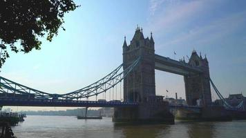 Tower Bridge with Thames River in London City, England video