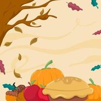 Pie with Fruits in Thanksgiving Festival vector