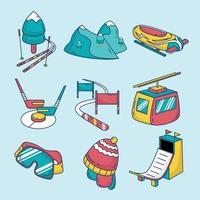 Winter Activity Sport Icon Set vector